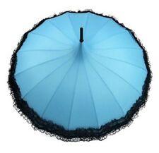 Ladies 'Kay' Pagoda  Walking Umbrella - Turquoise with Black Lace Trim