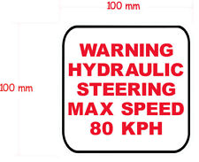 1X HYDRAULIC STEERING  decal 100mm by 100mm gloss laminated.