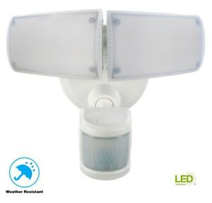 Defiant 180-Degree White Motion Activated Outdoor LED Twin Head Flood Light