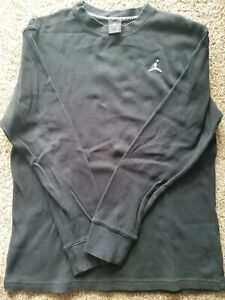 Mens Jordan Thermal Long Sleeve Shirt Black Size M Crew Gently Worn