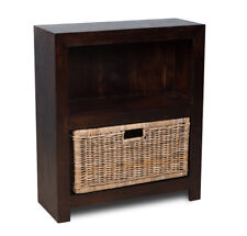 MANGO SMALL BOOKCASE WITH RATTAN WICKER BASKET (H54D&B42G)
