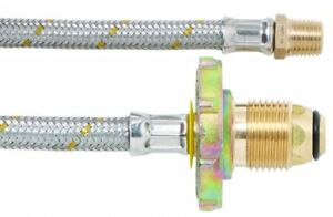 """LPG Gas Stainless Steel Braided Hose 5/16"""" x POL Flexi Pigtails 450mm 2pk"""