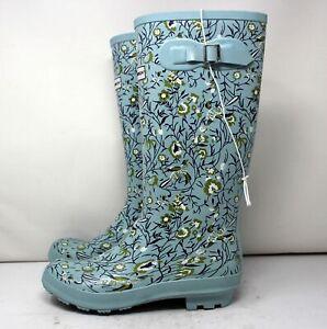 Smith & Hawken Womens 9 Tall Floral Blue Waterproof Gardening Boots