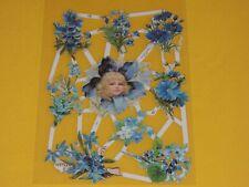 1x Poesiebilder Oblaten Blumen 101 BLAU Glanzbilder Blumenelfe mädchen