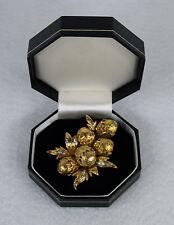 ITALY AUTHENTIC TOLIRO 18K Yellow Gold Diamonds Acorn Brooch
