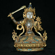 "9.6"" Old Tibet Copper Gilt Crystal Wenshu Manjushri Bodhisattva Sword Sculpture"