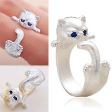 Katze Einstellbar Ring 925er Sterling Silber Schmuck Damen Modeschmuck GUT
