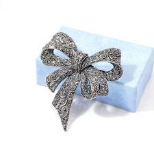 Rhinestone Bow Brooches Large Bowknot Brooch Pin Vintage Jewelry DB