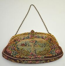 CHARMING VINTAGE ANTIQUE NEEDLEPOINT PETIT POINT PURSE SS560