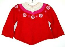 Liz Claiborne Kids Sweater Size 4T Red, Pink, Knit Pullover Embroidered Sweater