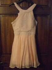 NWT ~ THREE PINK HEARTS blush peach dress prom formal silver sparkle ~ womens M
