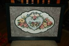 "Home Interiors/Homco Green Frame Floral Picture 19"" x 12.5"""