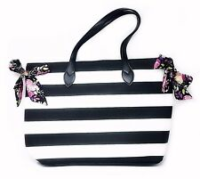 Simply Spring Tote, Black and White Stripes, Large Bag with Bows