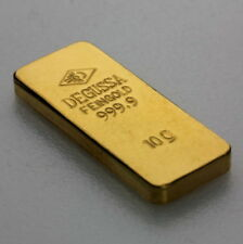 Degussa Goldbarren 10 Gramm 999.9 Fein Gold alte Form Eingeschweißt selten