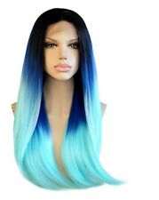 Natural Straight Light Blue Dark Roots Ombre Lace Front Full Womens Hair Wig