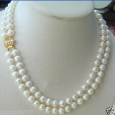 Pretty Handmade 2 rows 7-8MM DOUBLE STRAND WHITE  PEARL NECKLACE