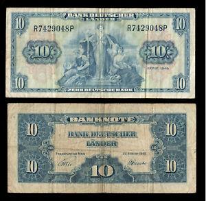Deutschland Germany BDL 10 Mark 1949 Ro. 258 Fine