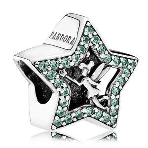 New Genuine Pandora DISNEY TINKERBELL STAR Green charm S925 ALE 791920NPG