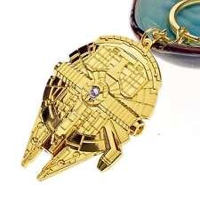 Star Wars Spaceship Millennium Falcon Gold Alloy Metal Keychain Keyring