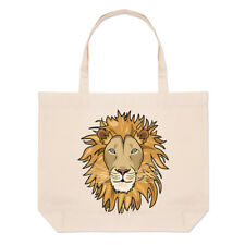 Lion Face Large Beach Tote Bag - Funny Animal Shopper Shoulder
