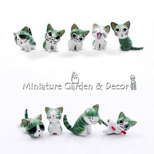 9 pc Cute Chi's Sweet Home GREEN Cat Figurines for Miniature Garden Decoration
