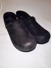 Women's Black Sanita Clogs size 38 7.5 8 Textured Suede Leather
