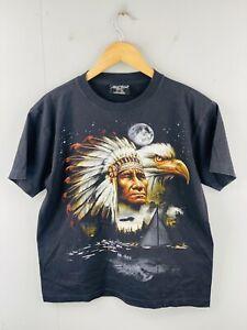 Rock Chang Men's Vintage Short Sleeve T Shirt Size M Black Native Indian Eagle