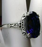 5ct Sim Sapphire Sterling Silver Edwardian Floral Filigree Ring {Made To Order}