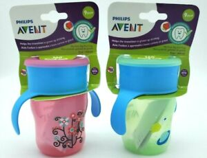 Philips Avent My First Big Kid Cup 360 Degree  9m+  Green BPA Free Lot Of 2