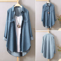 ZANZEA 8-24 Women Button Down Denim Shirt Top Tee Plain Long Sleeve Tunic Blouse