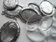 NEW 10: 25x18mm Tray Silver Pendant Making Set,10 Settings & 10 Cabochons