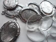 20 x  25x18mm Tray Silver Pendant Making Set,10 Settings & 10 Cabochons bulk buy