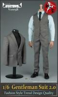 "VORTOYS 1/6 Gray Man's Gentleman Suit Clothing Sets F/12"" Male Action Figurse"