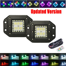 2x 24W Flush Mount LED Work Offroad Light Flood Pods with RGB Halo Chasing