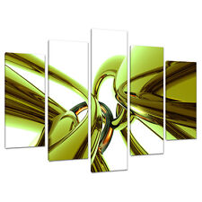 Five Piece Lime Green Abstract Canvas Art Pictures UK Set Prints 5035