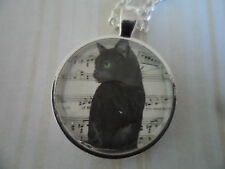 Musical Black Cat Altered Art Cameo Pendant Necklace, Cabochon Jewellery, 25mm