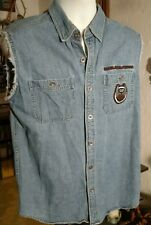 Harley Davidson 105th Anniversary Shirt/Vest Blue Denim Sleeveless Men's Medium