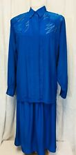 Vintage 1980's 2 Piece Sapphire Blue Top And Skirt. Medium/Large. Womens.