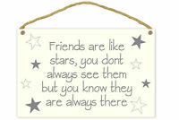Trendy Friends Are Like Stars Always There Wooden Plaque White Grey 25 x 16cm