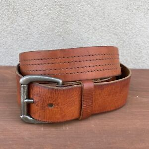 Abercrombie & Fitch Wide Brown Leather Belt With Stitched Details Size 36