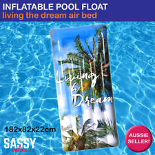 Inflatable Pool Float Living the Dream Giant Air Mat Jumbo Rectangle Pool Lounge