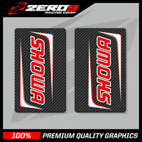 SHOWA UPPER FORK DECALS MOTOCROSS GRAPHICS MX GRAPHICS ENDURO CARBON RED 17