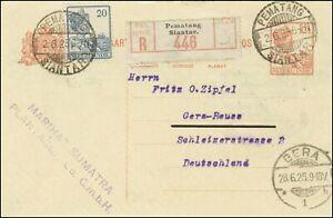 1925 Netherlands Indies PS CARD PEMATANG SIANTAR REG to GERMANY superb unusual