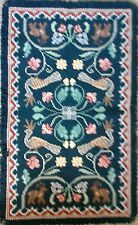 Arraiolos Throw Rug-Teal Background