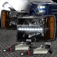 BLACK LENS LED HEADLIGHT+AMBER CORNER+6000K WHITE LED SYSTEM FOR 07-14 GMT900
