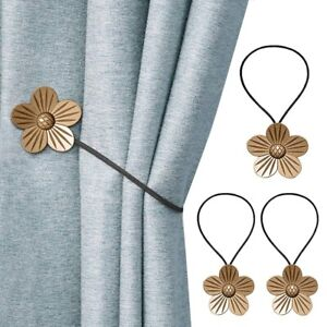 Magnetic Curtain Tiebacks 2 Pack Flower Holdbacks Decorative Rope