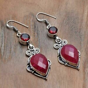 "Ruby Garnet Handmade Drop Dangle Earrings Jewelry 2.4"" AE 47043"