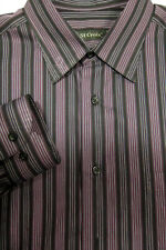GORGEOUS St. Croix Purple and Black Stripe Cotton Shirt 16.5x34 Made in Italy