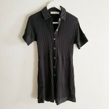 FREE PEOPLE Women's Size Medium Black Ribbed Collared Short Sleeve A-Line Dress