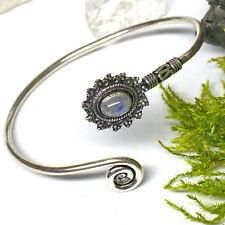 925 Silber Armspange Armreif Handgeschmiedet mit zauberhaften Mondstein Besatz